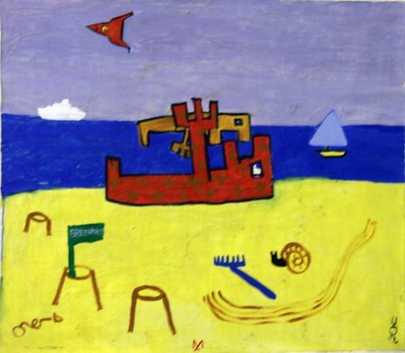 Виктор Цой, Олег Котельников, Андрей Медведев «Пляж». 1980-е.