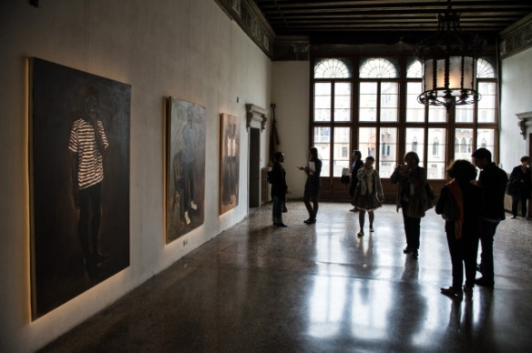 An installation view of Lynette Yiadom-Boakye's works at the exhibition of Future Generation Art Prize in Venice, 2013. Image courtesy of the PinchukArtCentre, Future Generation Art Prize.