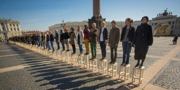 Елена Ковылина, Проект «Равенство» (Egalite), 19 апреля 2014ю перформанс на Дворцовой площади